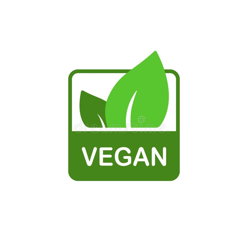 Vegan vector icon, bio eco square sticker, label, badge. natural nutrition vegetarian concept, healthy food sign isolated on white stock illustration