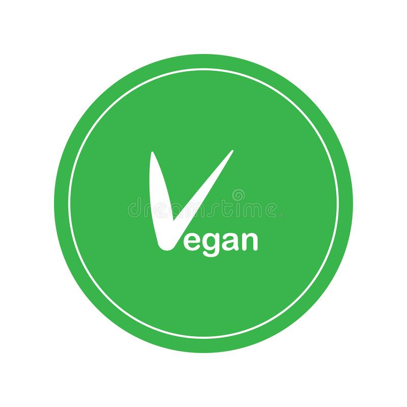 Vegan vector logo. Round eco green logo. Vegan food sign with leaves. tag for cafe restaurants packaging design. Text with tick stock illustration