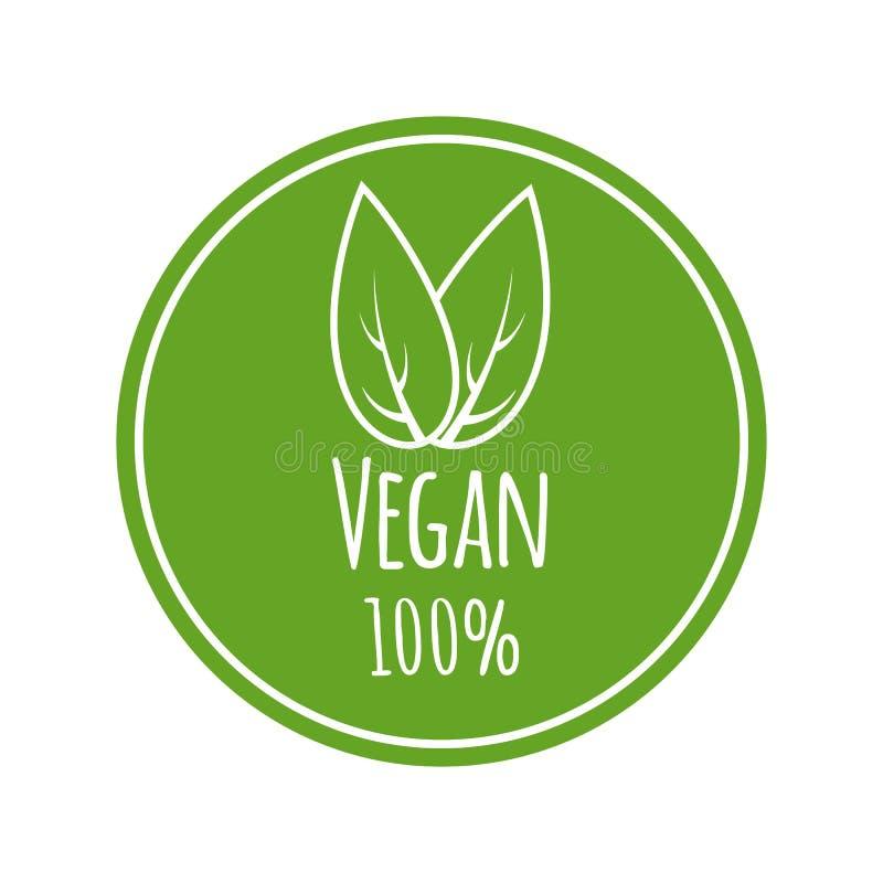 100% vegan vector logo. Round eco, green logo. Vegan food sign with leaves. Tag for cafe, restaurants, packagingdesign vector illustration