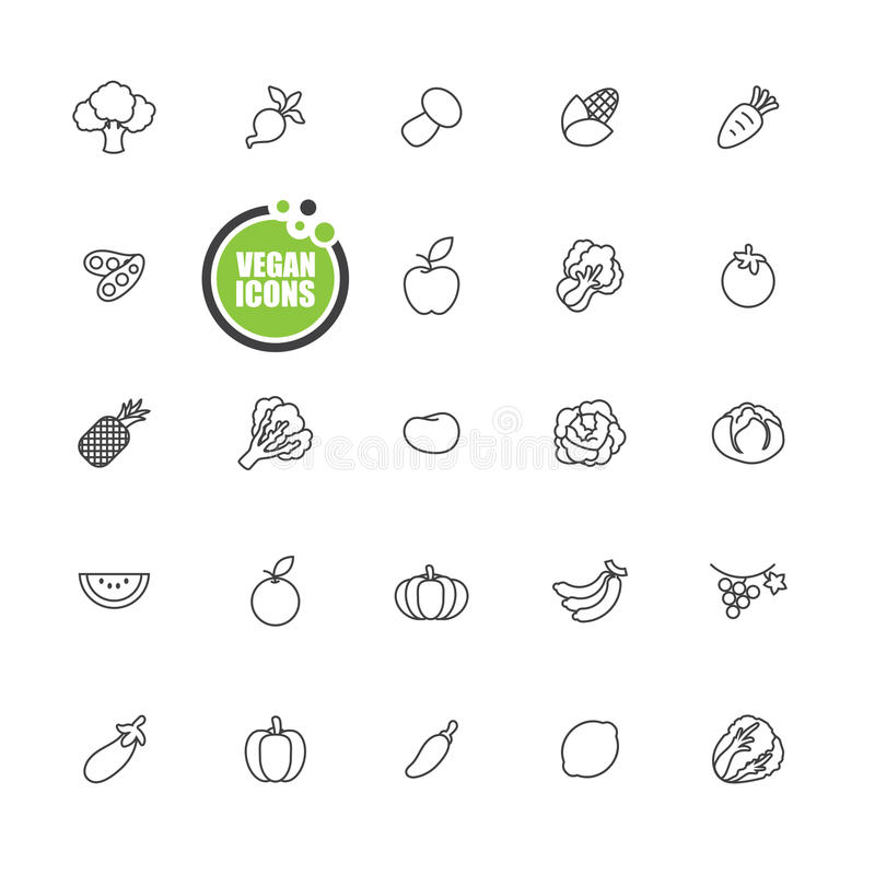 Vegan and Vegetarian food,Vegetables and fruits icons line set royalty free illustration