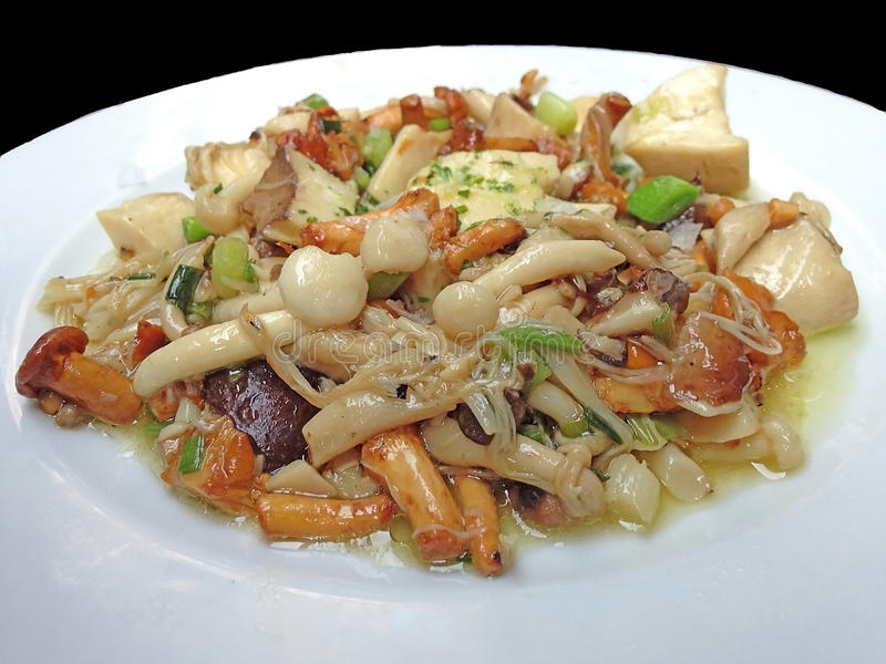 Vegan and Vegetarian healthy menu: Stir fried varieties of mushrooms and tofu.  royalty free stock image