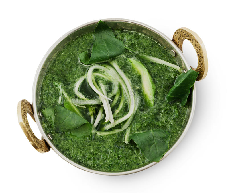 Vegan and vegetarian indian cuisine dish, green spinach soup royalty free stock images