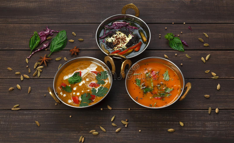Vegan and vegetarian indian cuisine hot spicy dishes royalty free stock photo