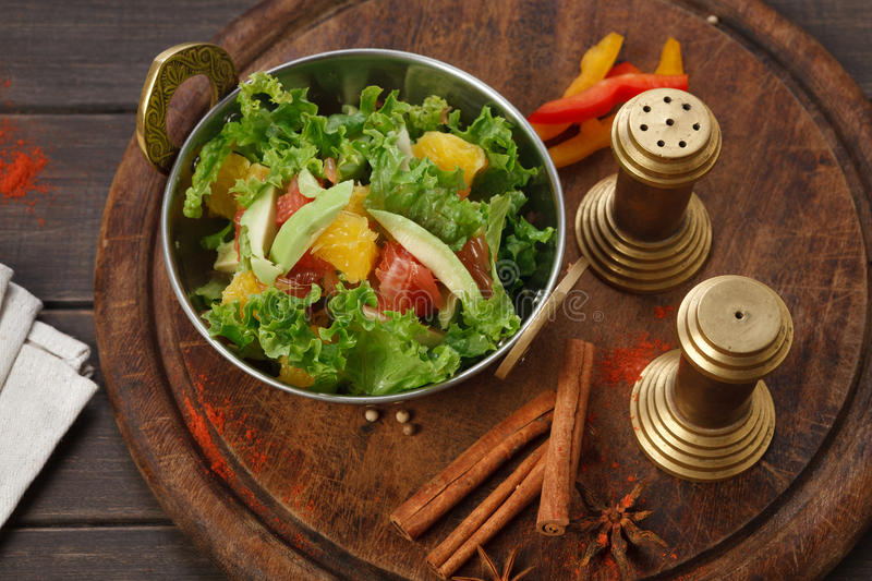 Vegan and vegetarian indian restaurant dish, fresh vegetable salad royalty free stock photography