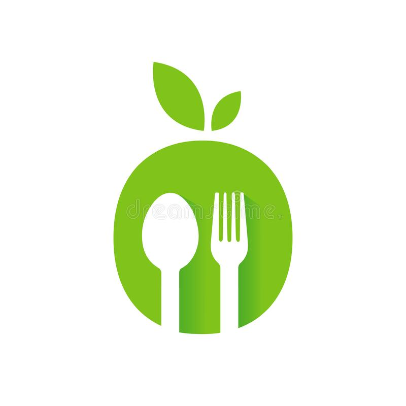 vegan vegetarian symbol of leaf Spoon and Fork Abstract logo Vector Graphic food icon stock illustration