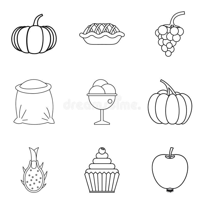 Veganismsymbolsuppsättning, enkel stil royaltyfri illustrationer