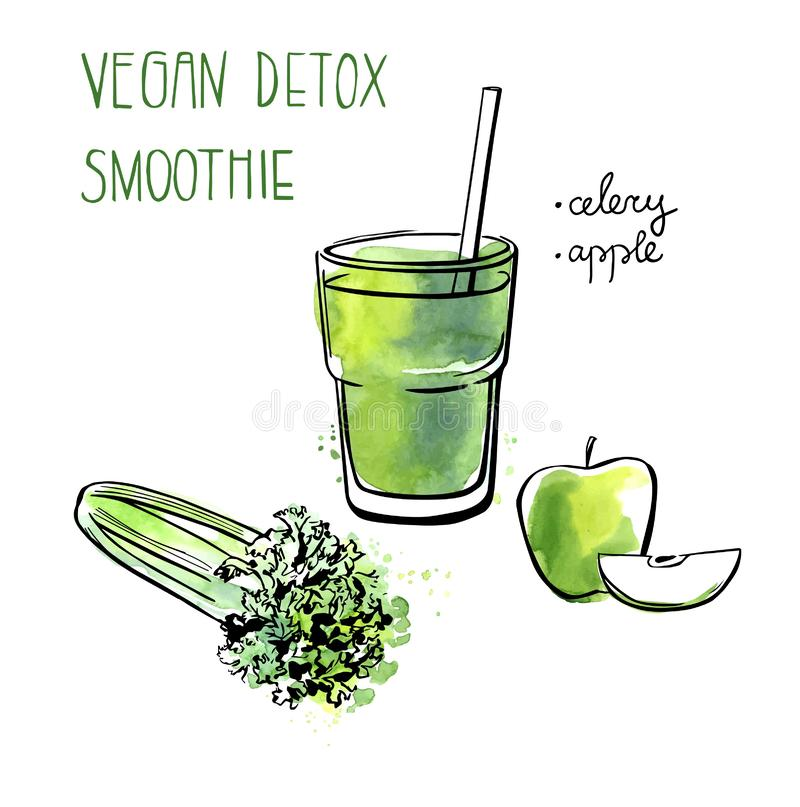 Veganist detox smoothie recept royalty-vrije illustratie