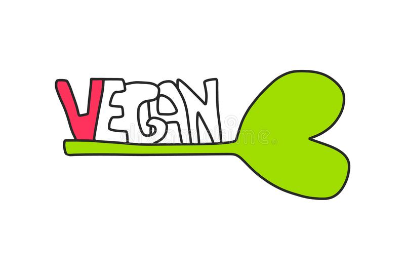 Veganist handdrawn illustratie royalty-vrije illustratie