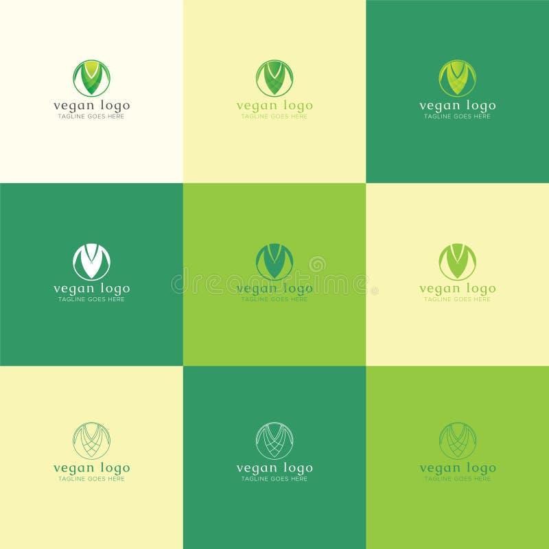Veganist Logo Set met gradiënt, vast lichaam, en lijnstijl stock illustratie