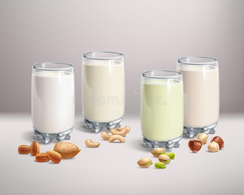 Veganist noot-melk in glas vector illustratie