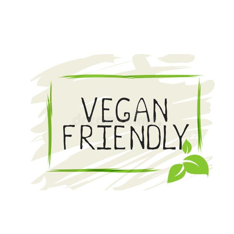Veganist vriendschappelijk etiket en hoog - de kentekens van het kwaliteitsproduct Biohuis gemaakt voedsel tot Biologisch product vector illustratie