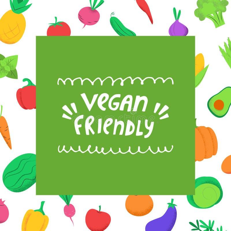 Veganist vriendschappelijke banner met groenten stock illustratie