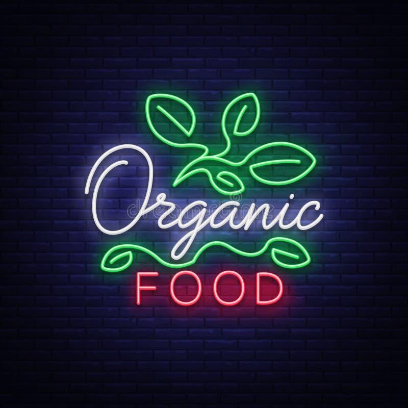 Veganistembleem in neonstijl Neonsymbool, helder lichtgevend teken die, neonnacht op het thema van Vegetarisch voedsel adverteren royalty-vrije illustratie
