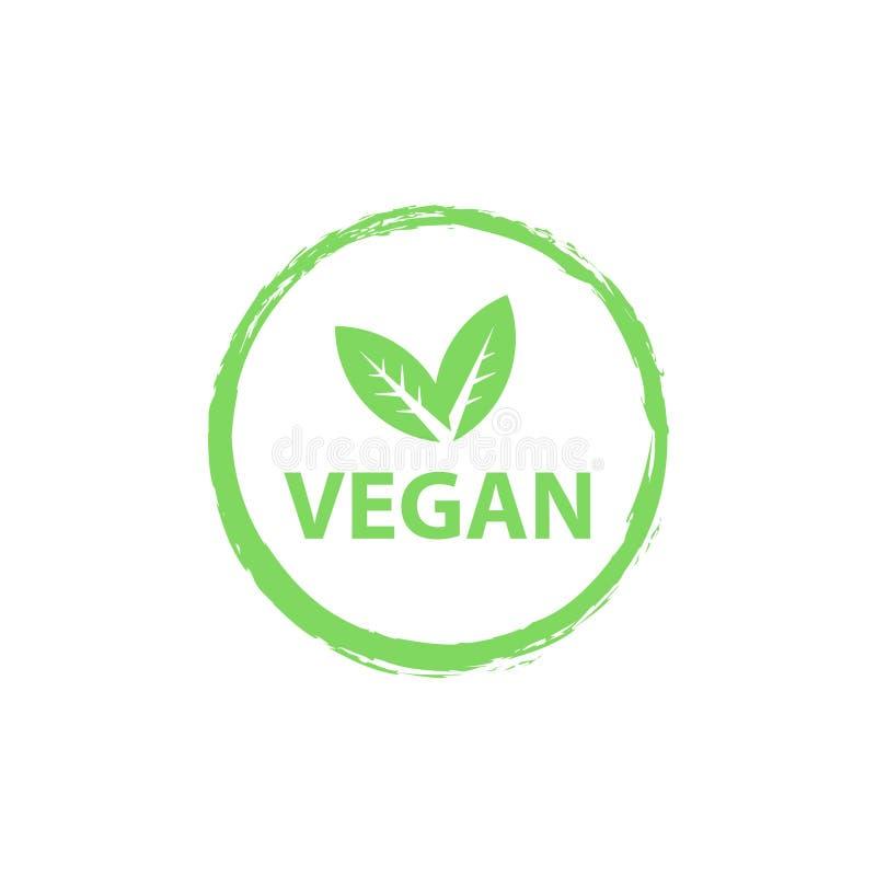 Veganistembleem, organisch bioemblemen of teken Ruwe, gezonde die voedselkentekens, markeringen voor koffie worden geplaatst, res vector illustratie