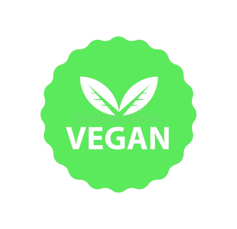 Veganistembleem, organisch bioemblemen of teken Ruwe, gezonde die voedselkentekens, markeringen voor koffie worden geplaatst, res royalty-vrije illustratie