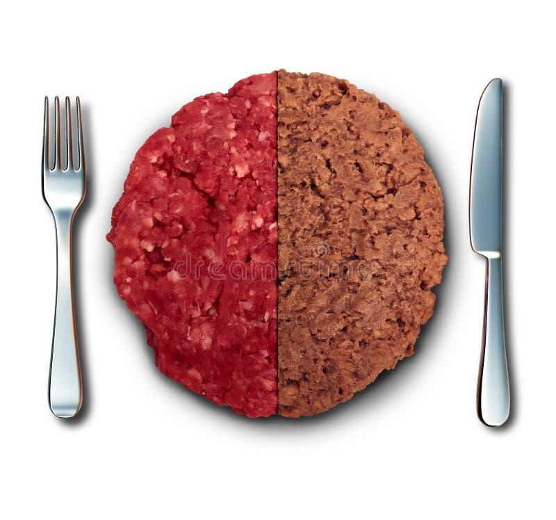Veganisthamburger en Vlees royalty-vrije stock afbeeldingen