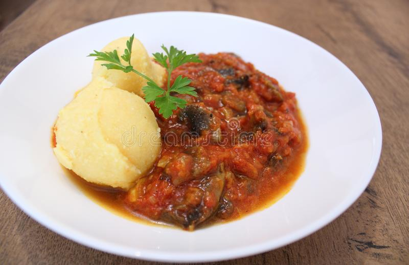 Veganistpaddestoel Stew With Polenta royalty-vrije stock fotografie