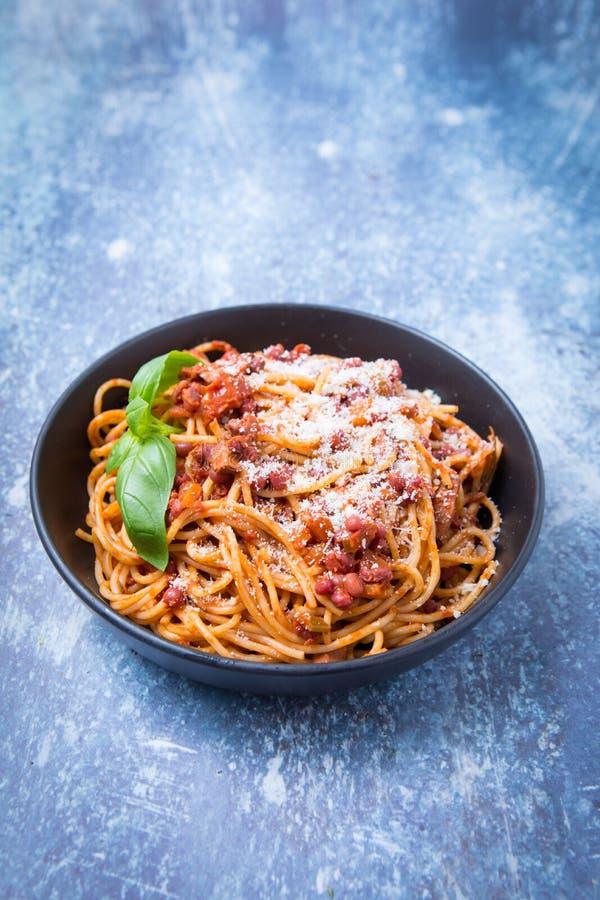 Veganistspaghetti Bolognaise royalty-vrije stock afbeelding