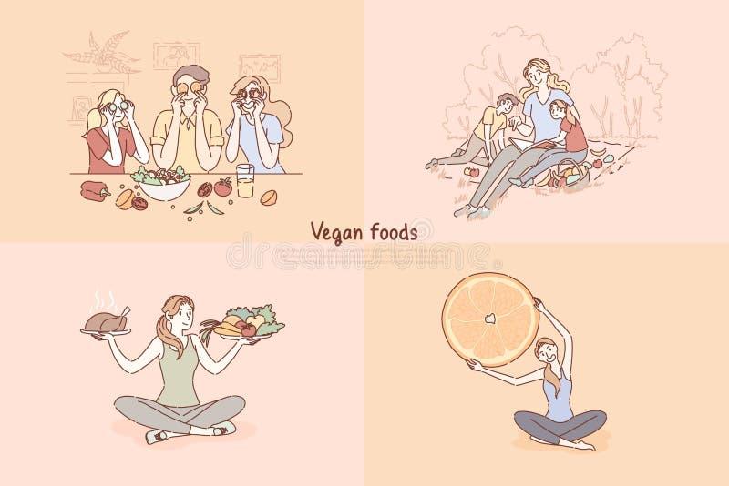 Veganistvoedsel, gezonde en ongezonde het eten keus, familie die de bannermalplaatje koken van de verse groentensalade stock illustratie