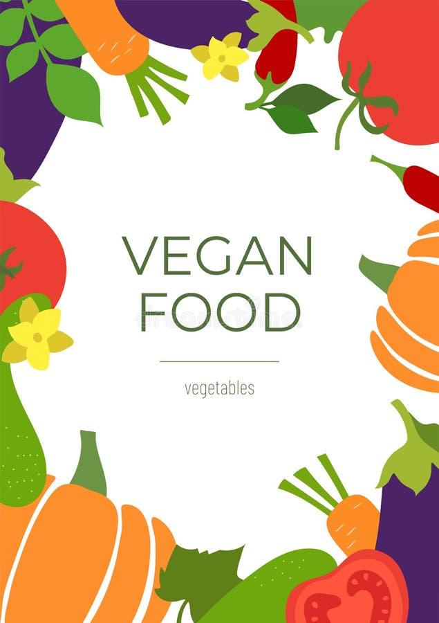 Veganistvoedsel Het menukader van de groentenschets Verse tomaat, aubergine, komkommer, pompoen, wortel, en Spaanse peperpeper Ha stock illustratie