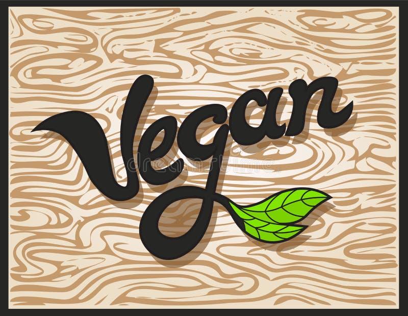 Veganistword Inschrijving Vectorelement voor etiket, embleem, kenteken, sticker, menu of pictogram Kalligrafische en typografisch stock illustratie