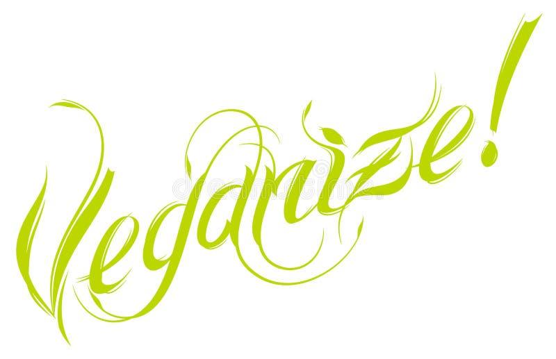 Veganize wektoru motto Wektorowy literowanie ilustracji