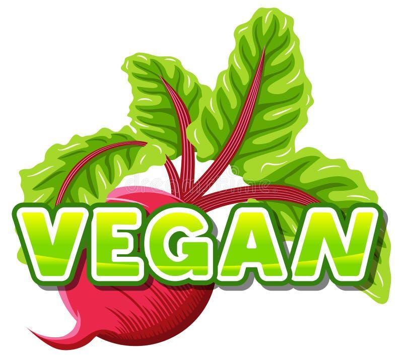 Vegano de las letras delante de una remolacha stock de ilustración