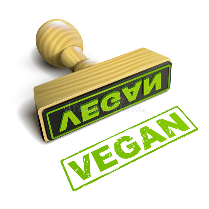 Vegano del sello con el texto verde en blanco libre illustration