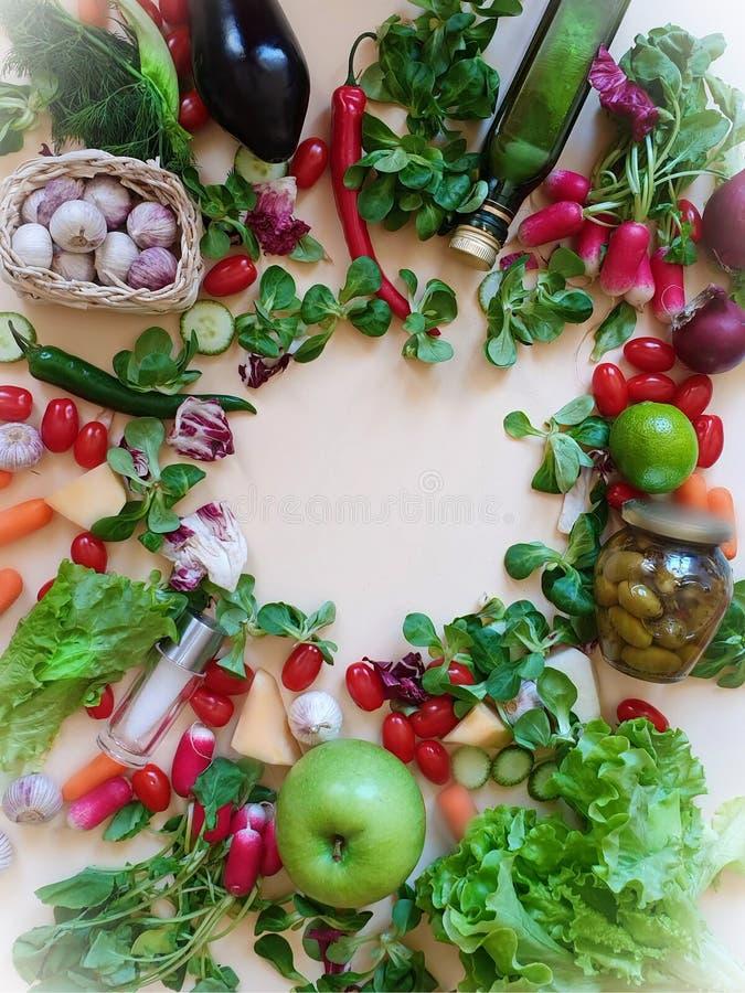 Vegano rojo de la comida de la dieta sana del rábano de la berenjena del eneldo del perejil del ajo de la cebolla de la lila del foto de archivo libre de regalías
