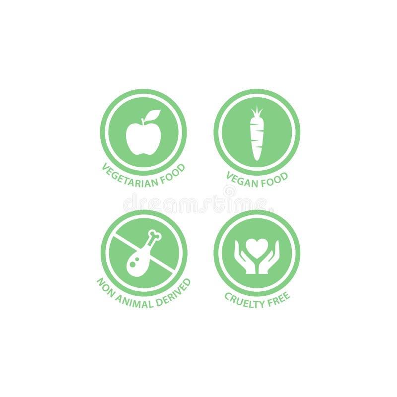 Vegano, vegetariano, crueldad libre y sistema de etiqueta derivado no animal del vector libre illustration