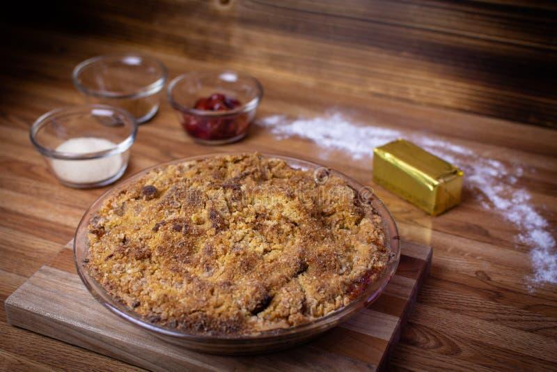 Vegano y gluten Cherry Pie libre foto de archivo