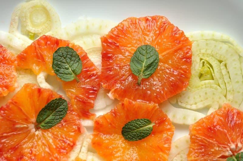 Vegansallad med fennel, apelsinen och minten arkivbilder