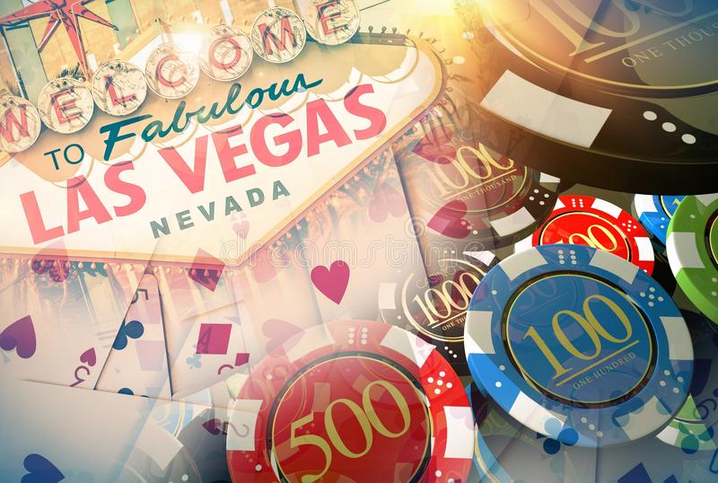 Vegas Casino Games Concept. Illustration with 3D Rendered Elements. Famous Las Vegas Entrance Sign, Poker Cards and Casino Chips royalty free illustration