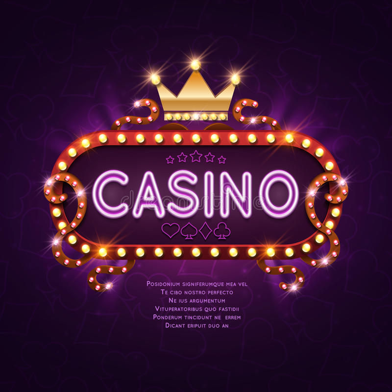 Vegas casino retro light sign for game background vector illustration stock illustration