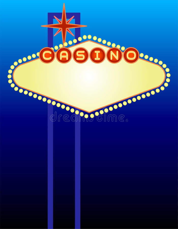 Vegas Casino Sign. Illustration of a Vegas-type casino sign background. Suitable for personalizing for a party invitation or event poster stock illustration