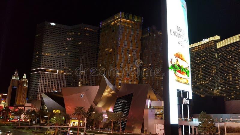 Vegas crystals nighttime strip aria stock photography