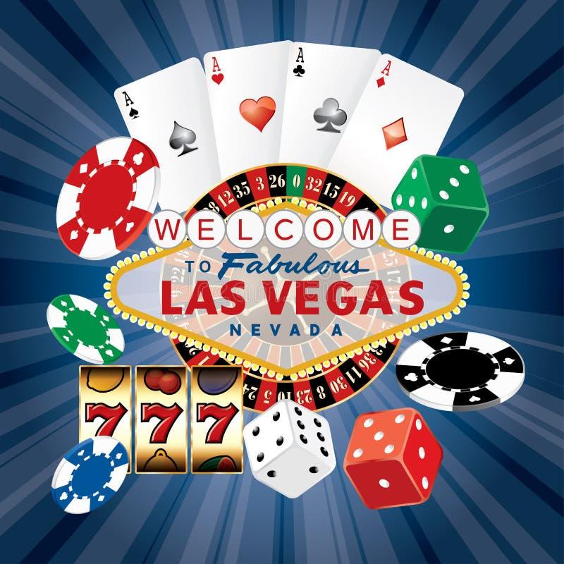 Vegas dice card blue vector illustration