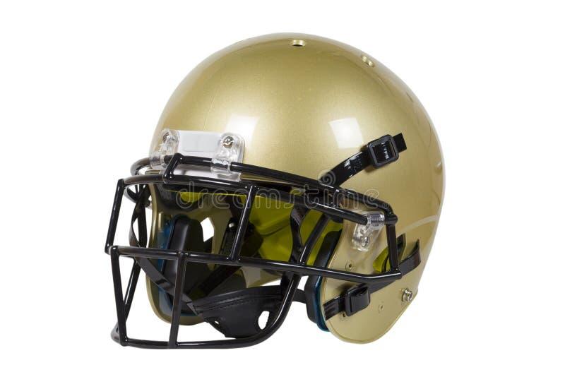 Vegas-Goldamerikanischer Football-Helm lokalisiert auf Weiß mit Beschneidungspfad lizenzfreie stockbilder