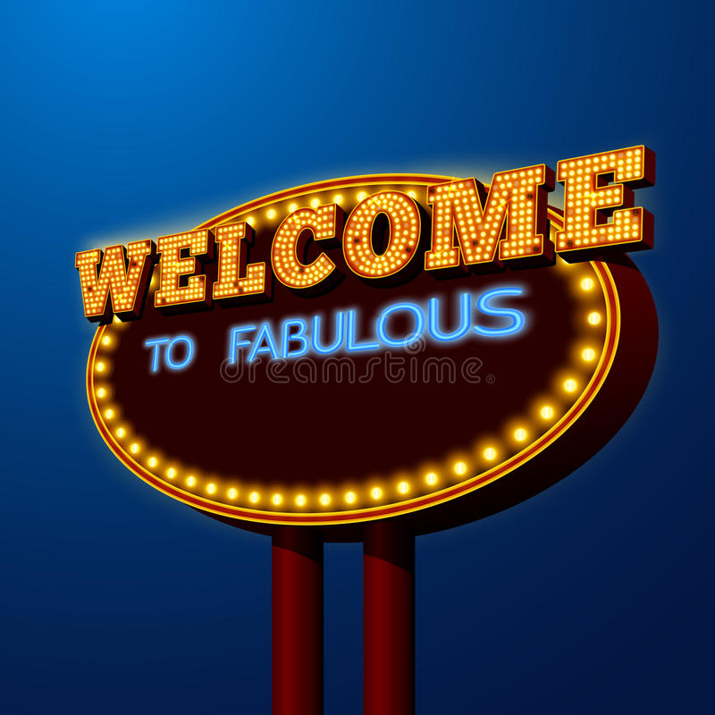 Vegas night life billboard sign poster royalty free illustration