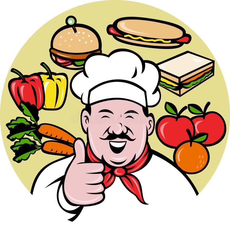 Veges do alimento do fruti do padeiro do cozinheiro do cozinheiro chefe ilustração royalty free