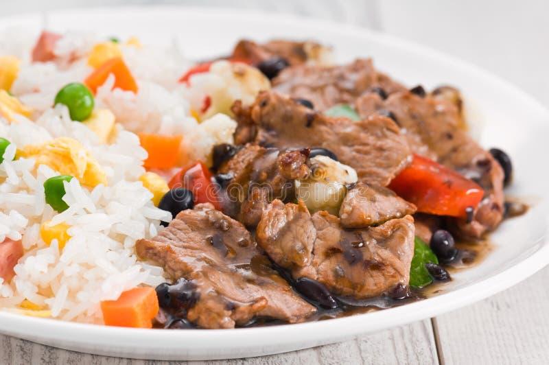Vegetable жареные рисы говядины стоковая фотография rf