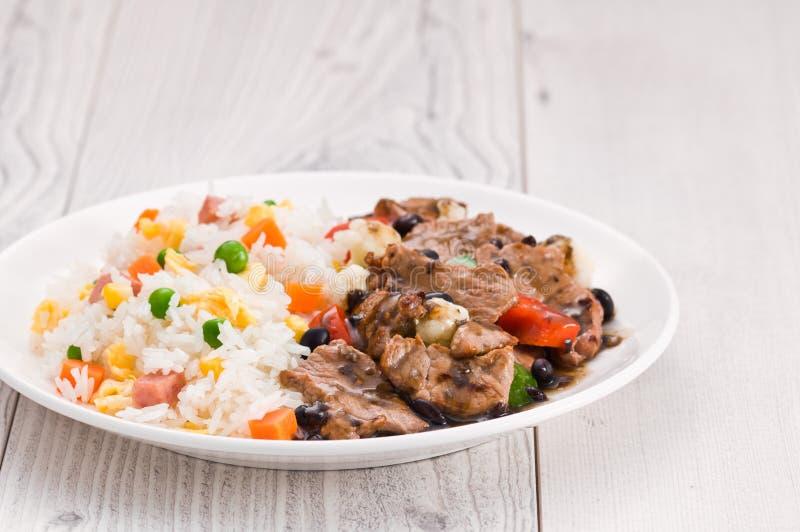Vegetable жареные рисы говядины стоковое фото rf