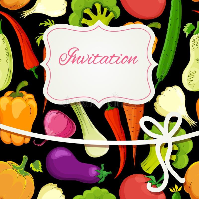 Vegetable карточка приглашения шаржа иллюстрация вектора