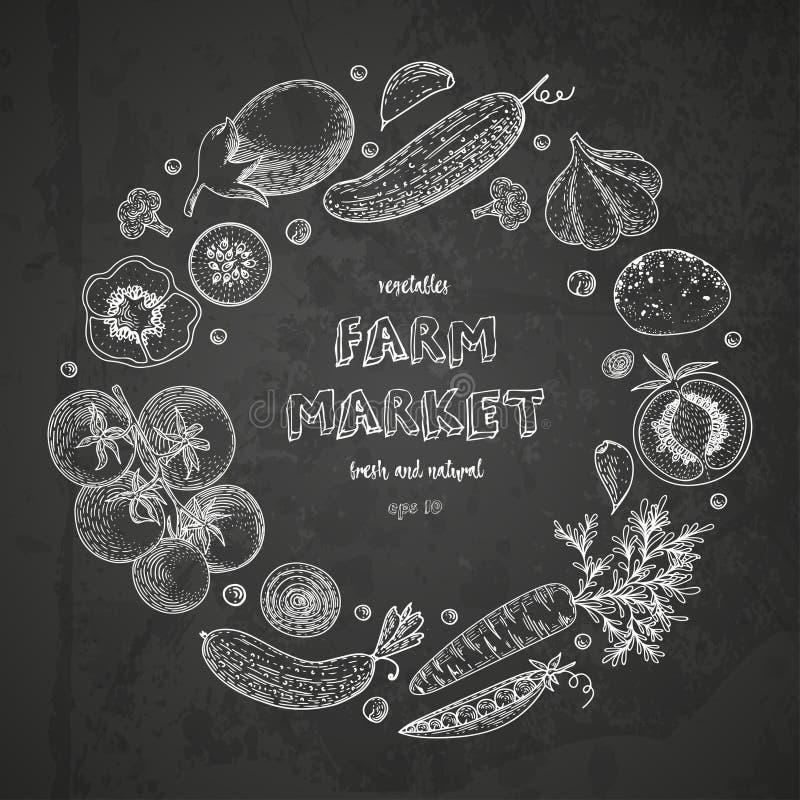 Vegetable круг вектора с огурцом, томатом, баклажаном, картошкой, морковью, брокколи Здоровый шаблон дизайна еды с иллюстрация вектора