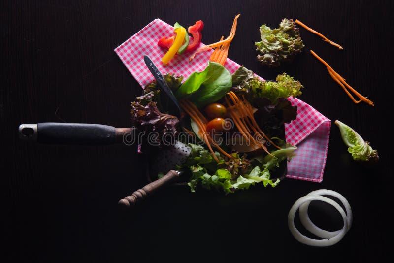 Vegetable подготовка салата на черной предпосылке стоковые изображения rf