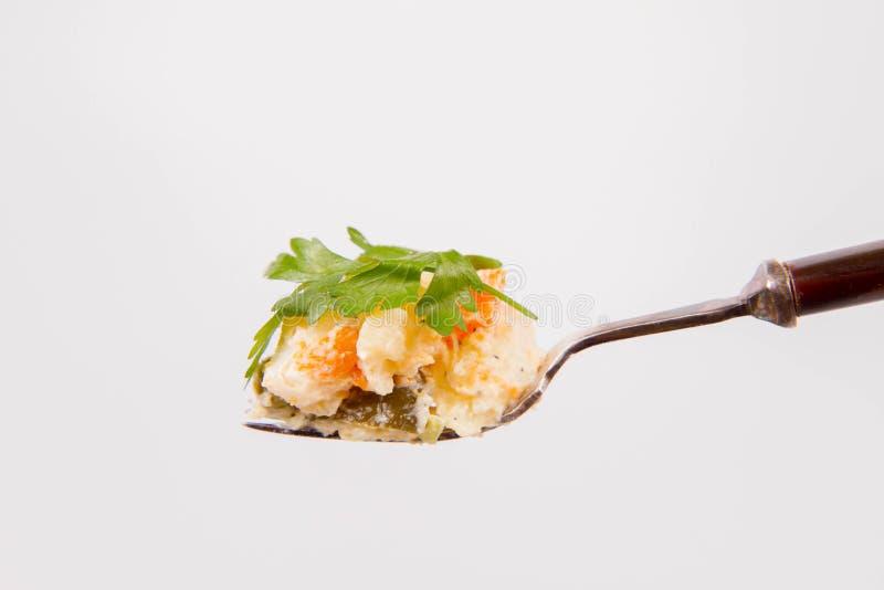 Vegetable салат на вилке стоковая фотография