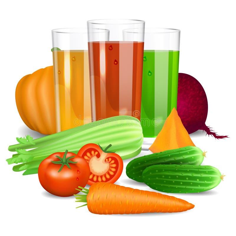 Vegetable соки Огурец, томат, морковь, тыква, свекла иллюстрация вектора