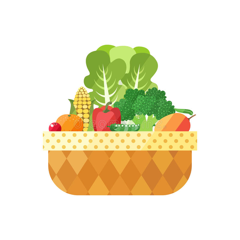 Free Vegetable And Fruit Basket Isolated (cranberry, Mandarin, Corn, Pepper, Pea, Broccoli, Mango). Modern Flat Design. Royalty Free Stock Photography - 57901477