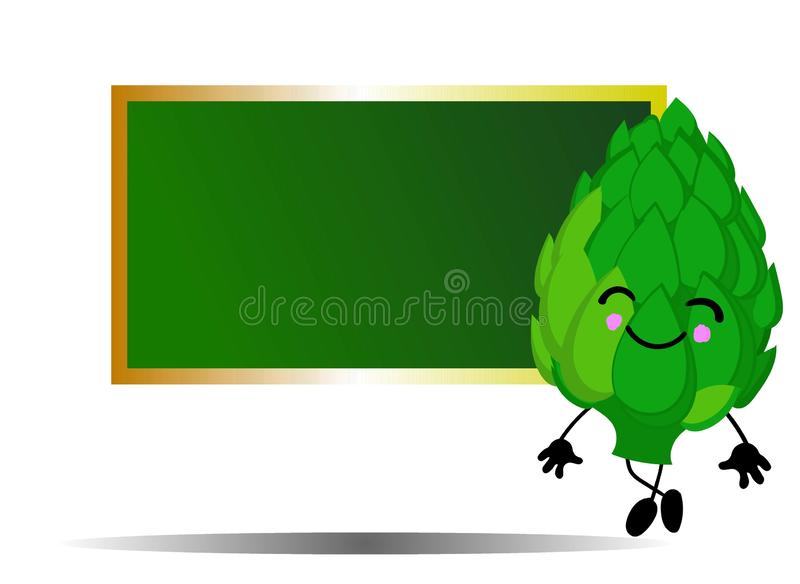 Vegetable artichoke near the school board. Background for your text. Suitable for educational posters, announcements and cards.  royalty free illustration
