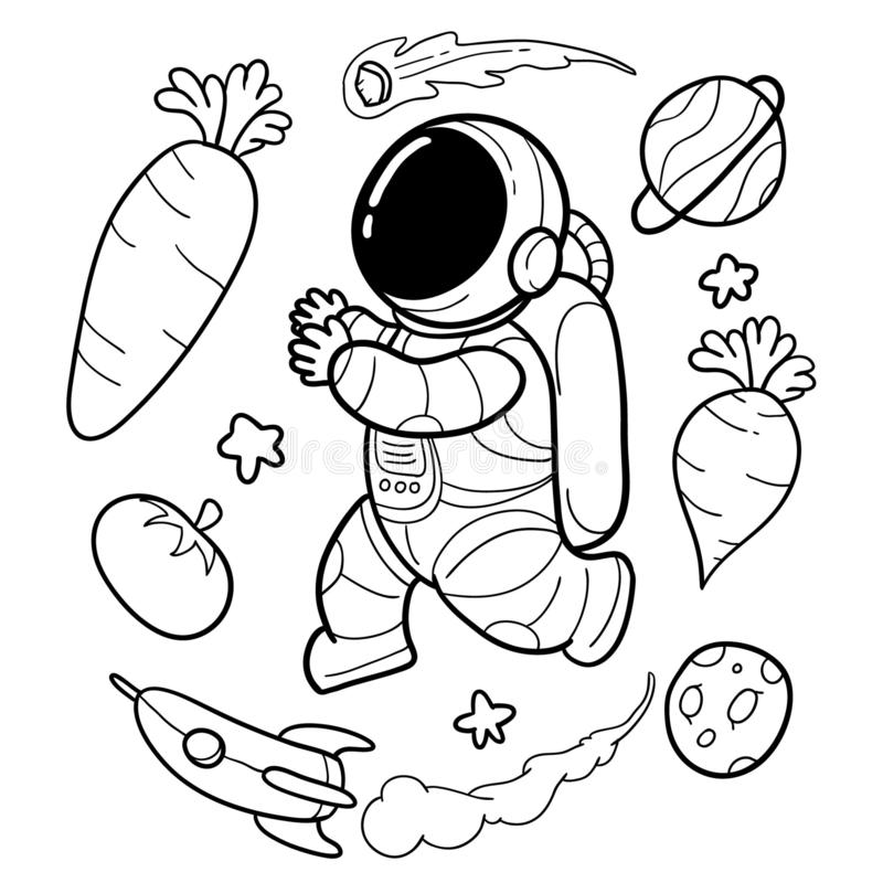 Vegetable astronauts are funny hand drawn. Vegetable astronauts are hand drawn funny, for children`s background templates and for all needs royalty free illustration